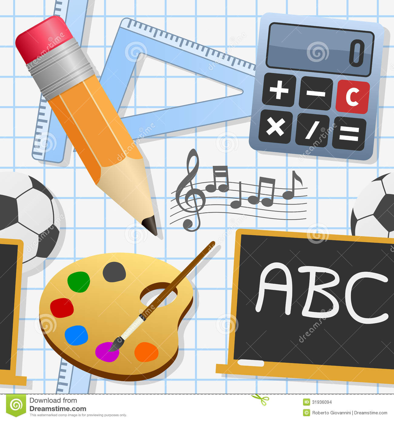 School Education Seamless Pattern Stock Images