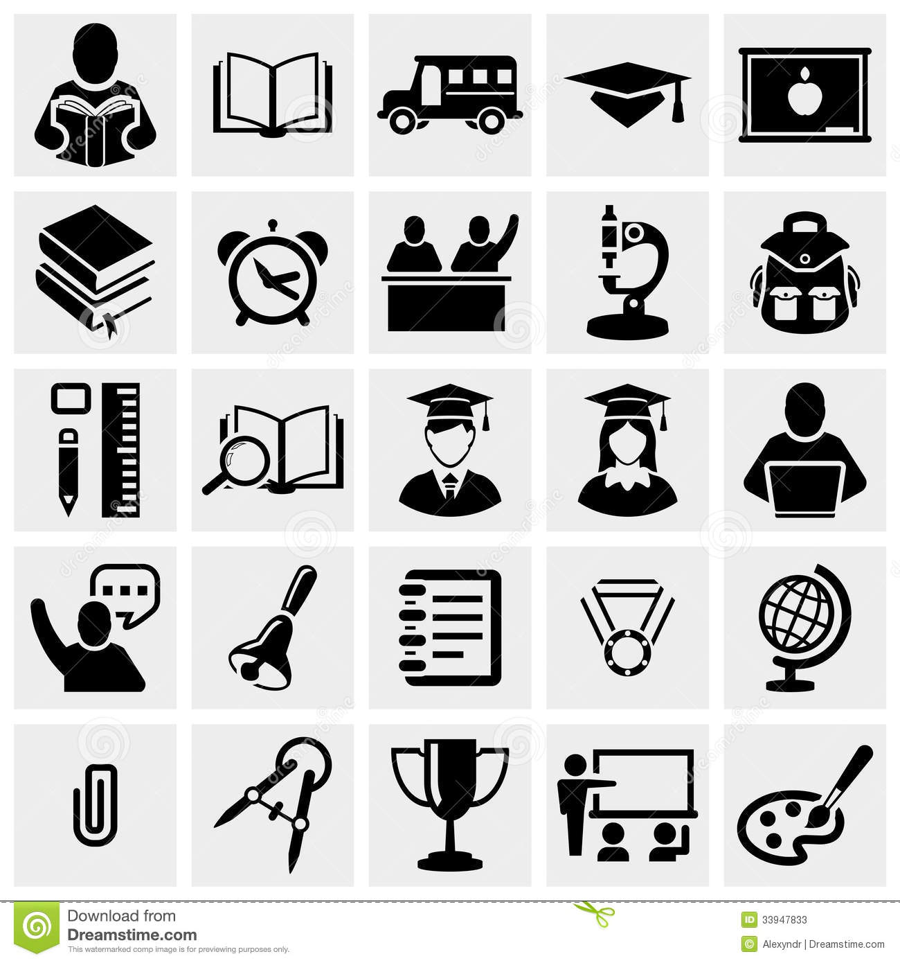 School And Education Vector Icons Set On Gray. Stock Photos - Image ...