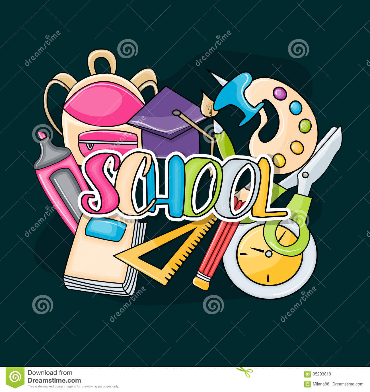 download school elements clip art doodle stock vector illustration of back high 95293818