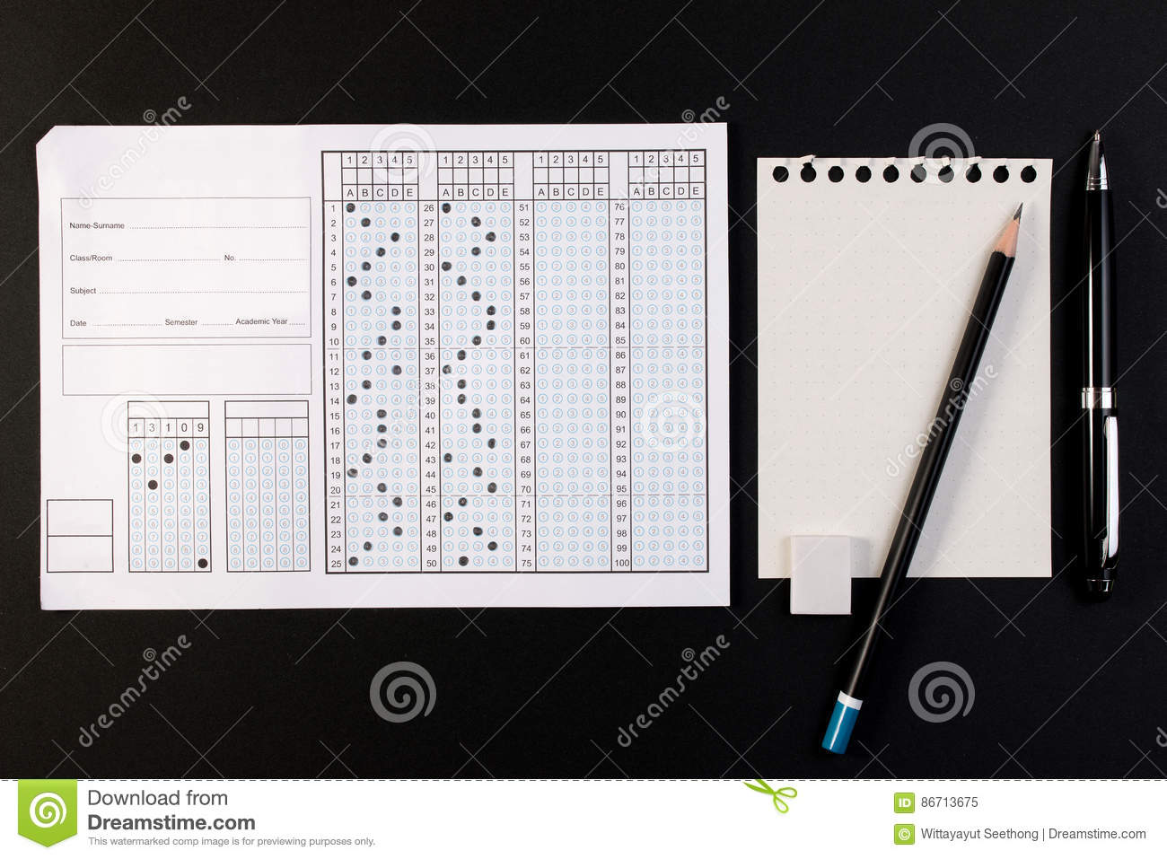 School Exam Answer Sheet And Pen  Standard Test Form Or Answer Sheet