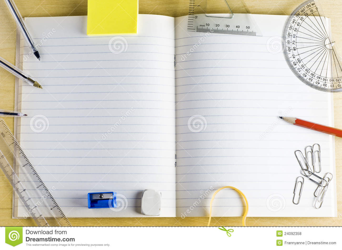 school exercise book with stationery stock photo image