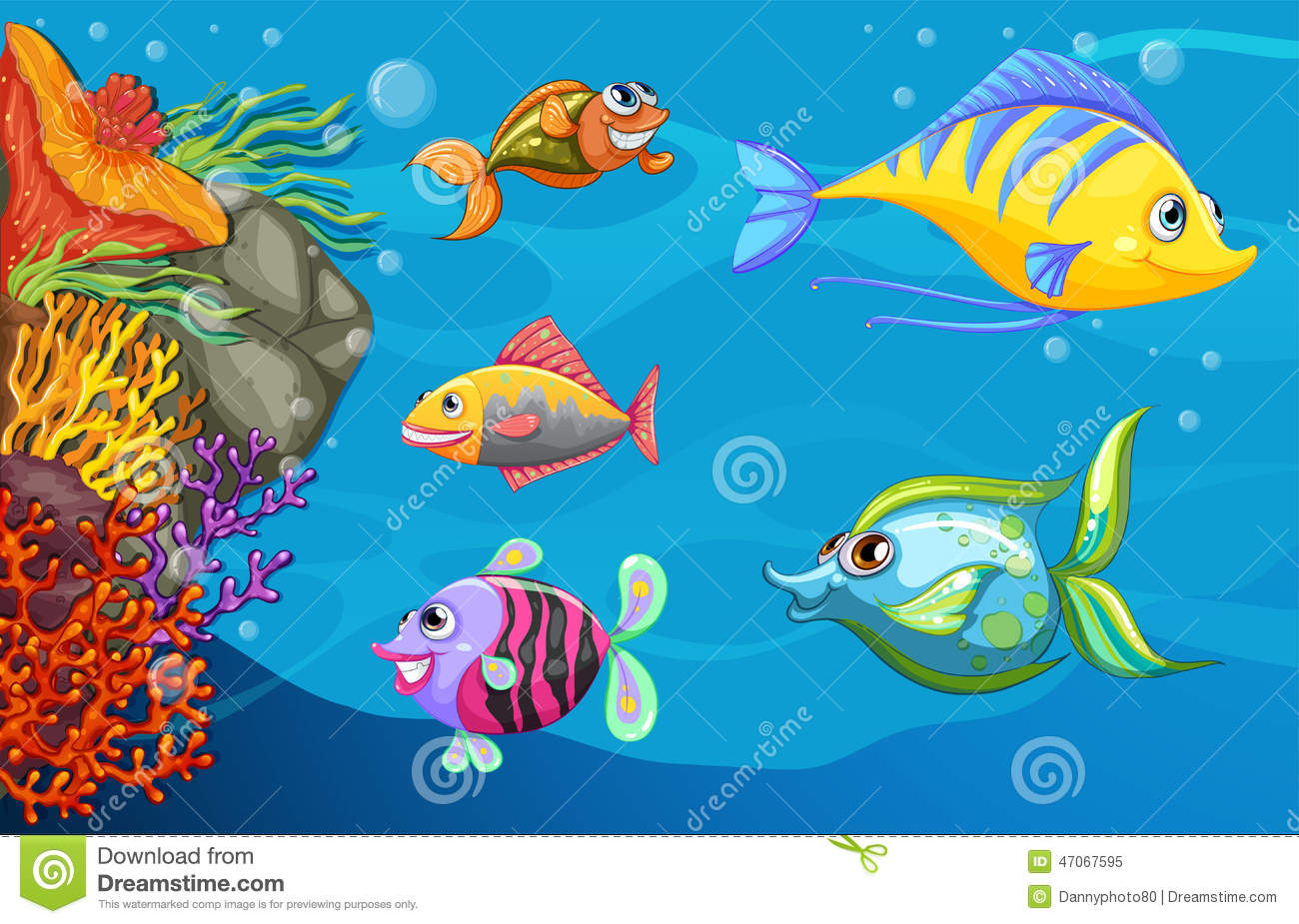 A school of fish under the sea stock vector image 47067595 for Fish under the sea