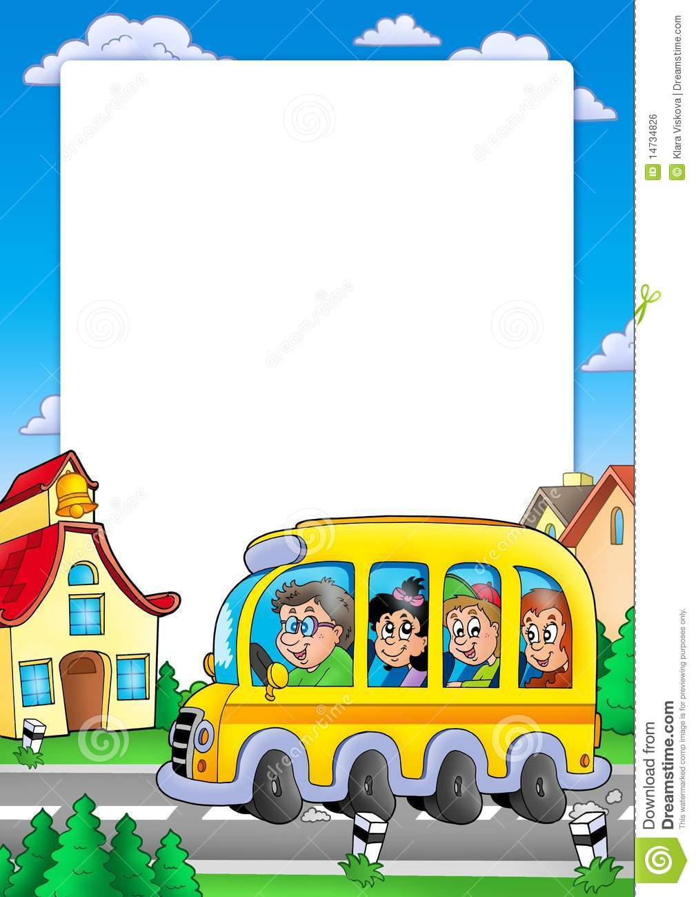 School Frame With Bus And Kids Stock Illustration