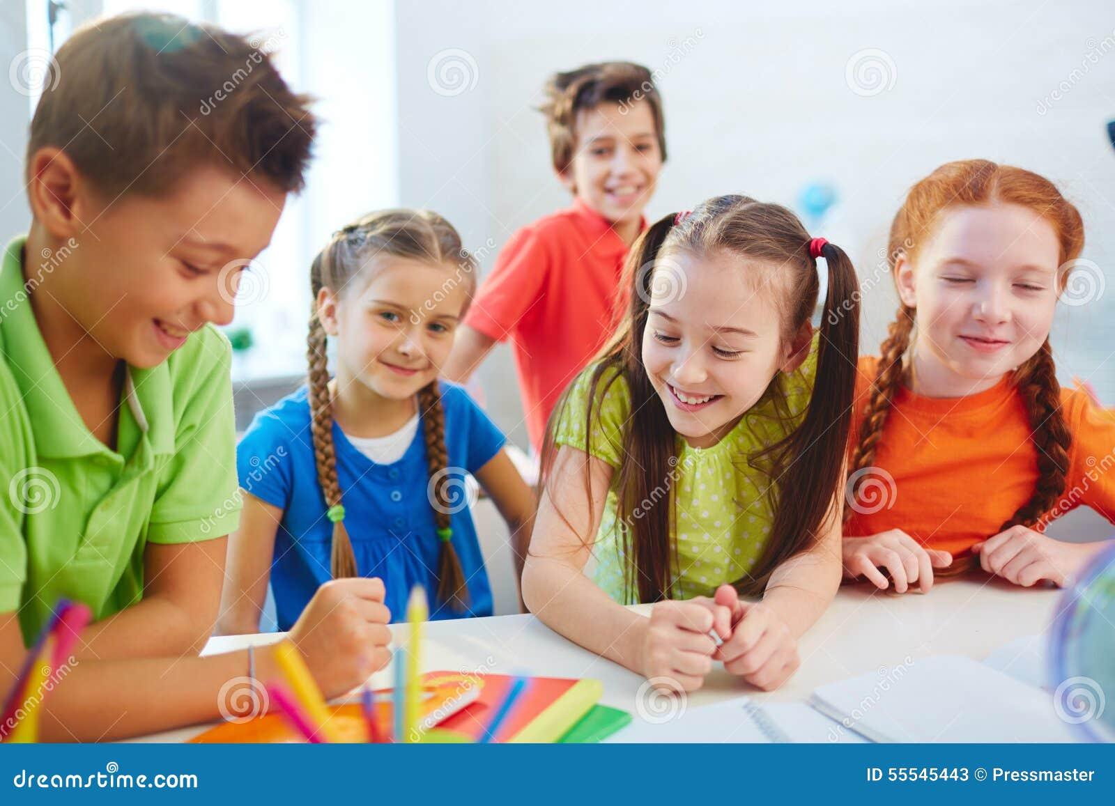 School Friends Talking Stock Photo - Image: 55545443
