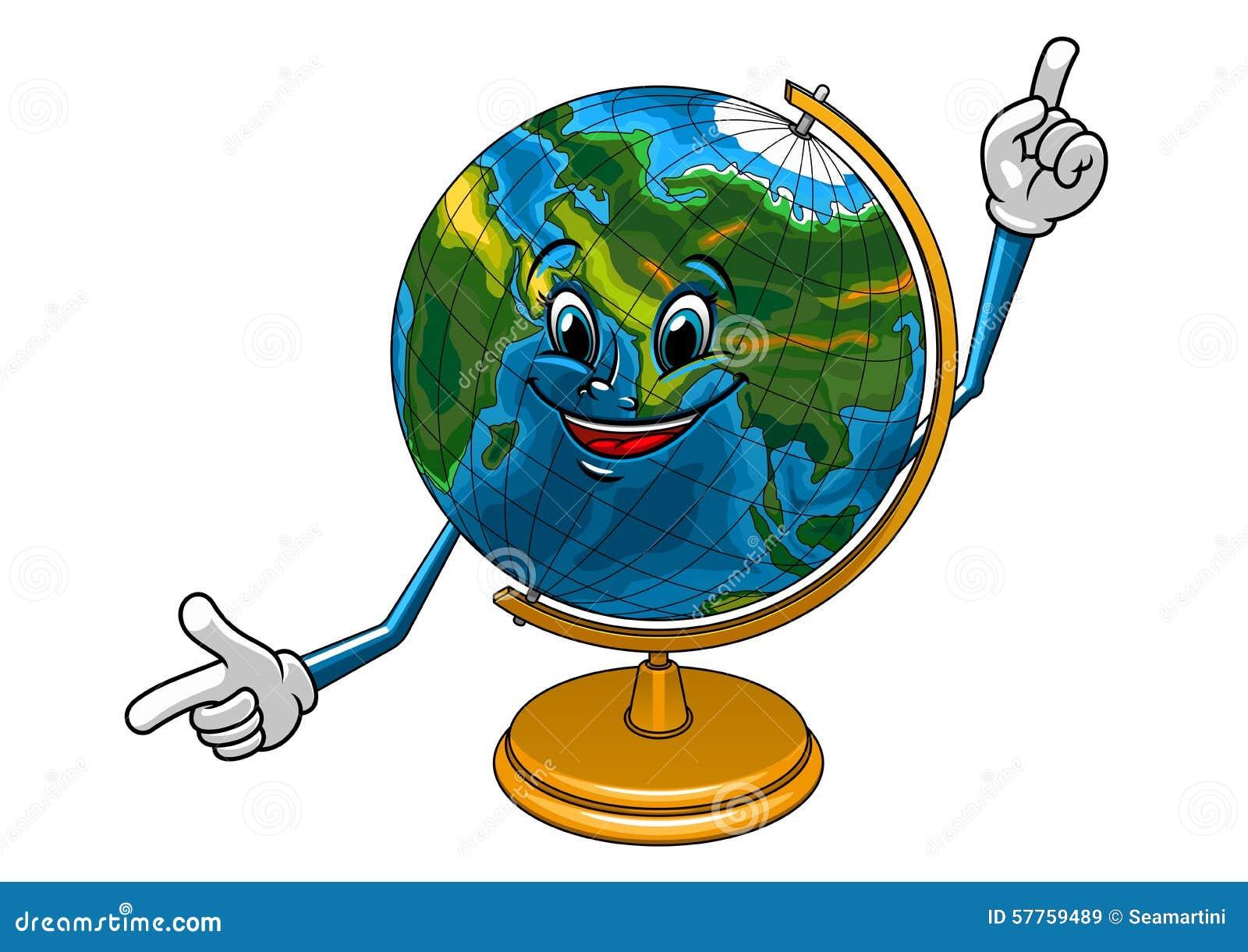 School Geographical Globe Cartoon Character Stock Vector