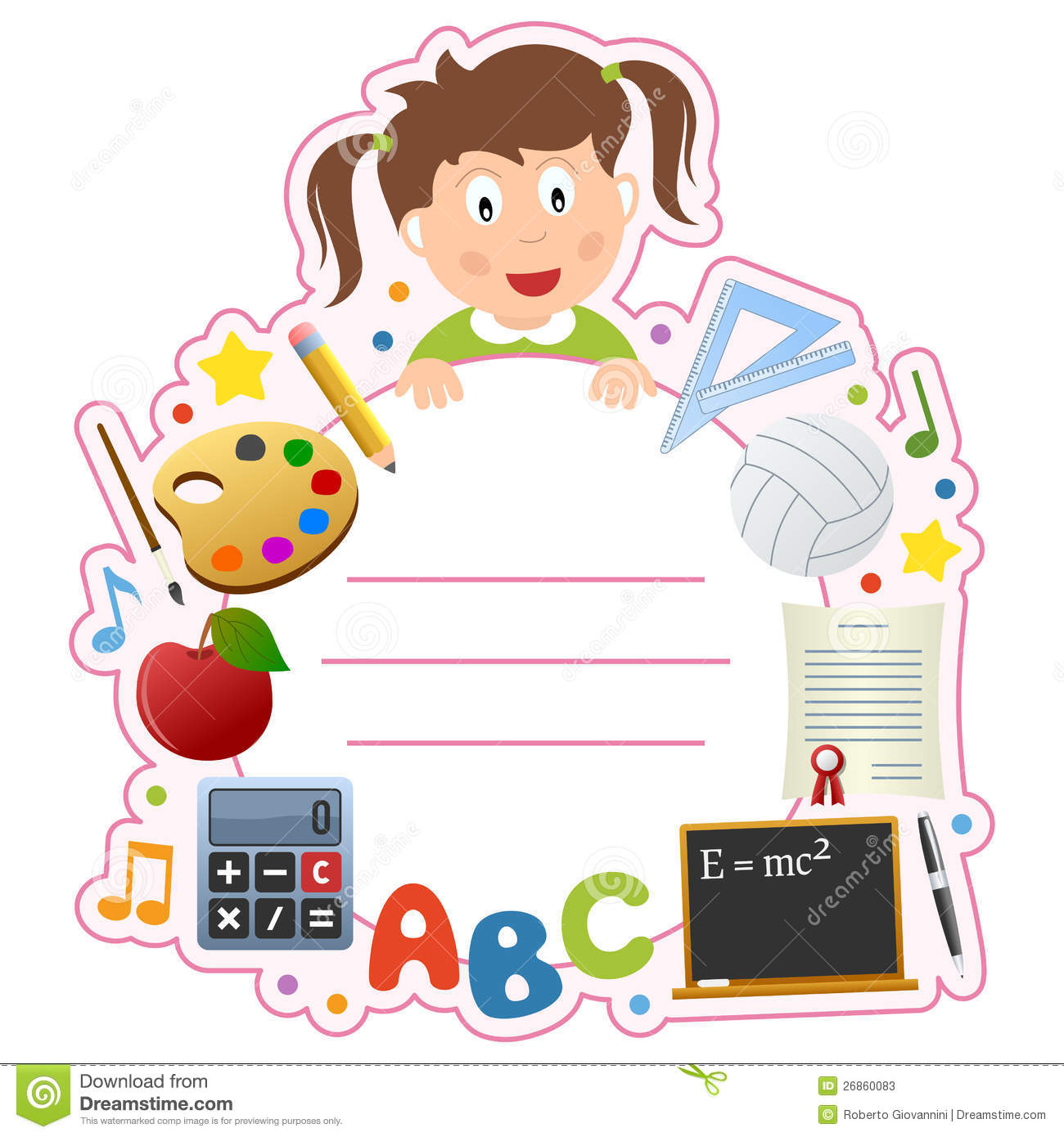 English Book Cover Pictures ~ School girl book cover frame stock vector illustration