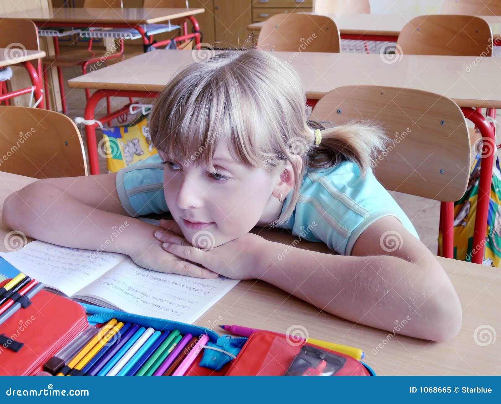 School girl in classroom