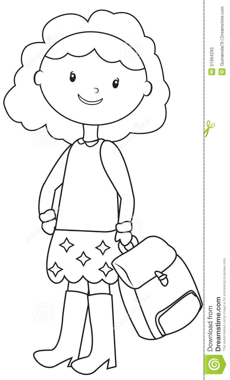 School Girl Coloring Page Stock Illustration Image 51994293