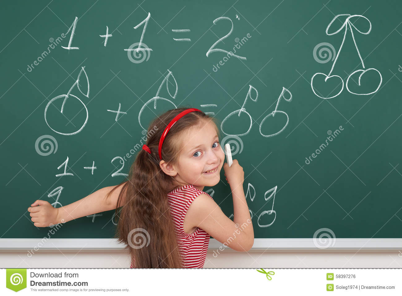 School Girl Exercise Math On Board Stock Photo - Image of cherry ...