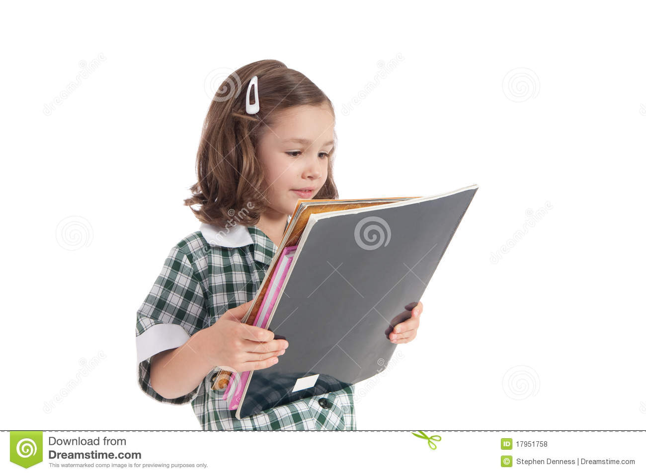 Book Cover School Uniform : Five years old girl in library royalty free stock photo