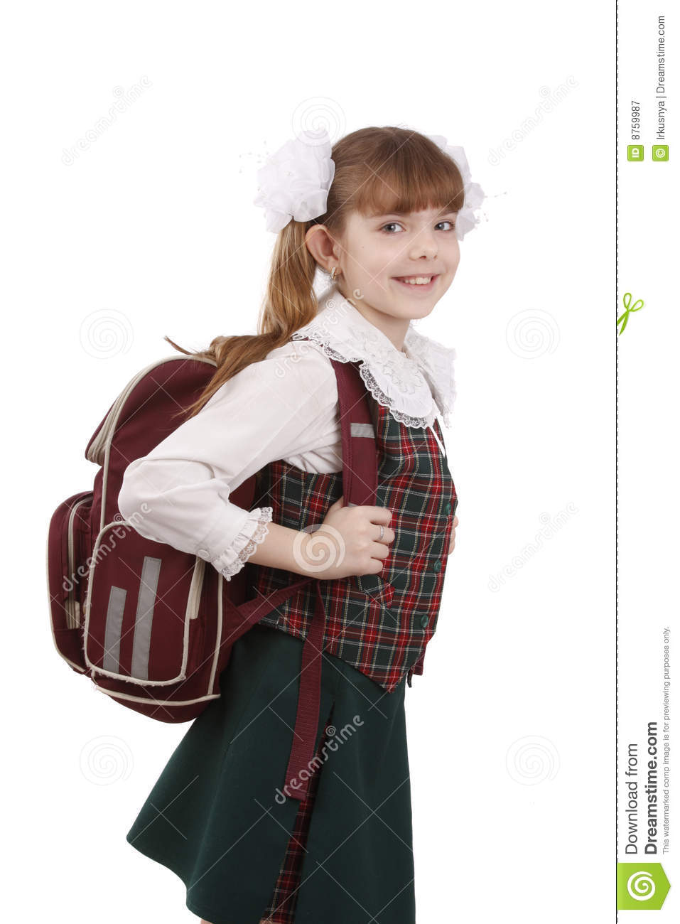 School Girl With Schoolbag. Education. Stock Image - Image ...