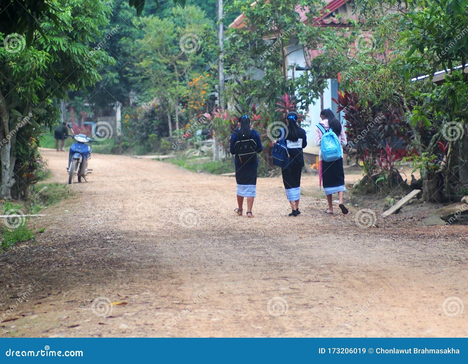 Laotian Little Girls Portrait Editorial Stock Photo