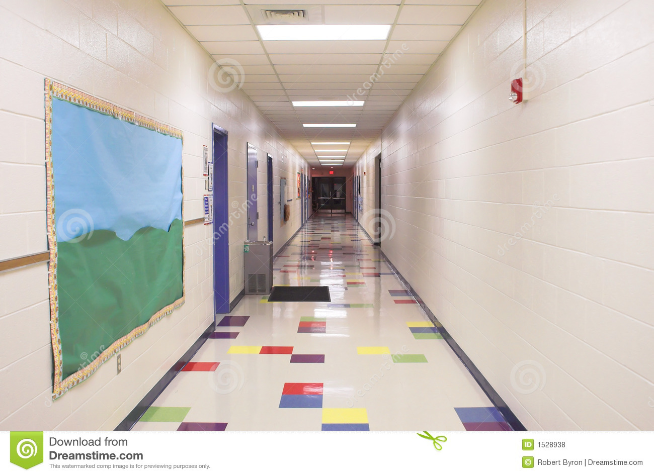 School hallway stock photo image of elementary doors for Hallway photos