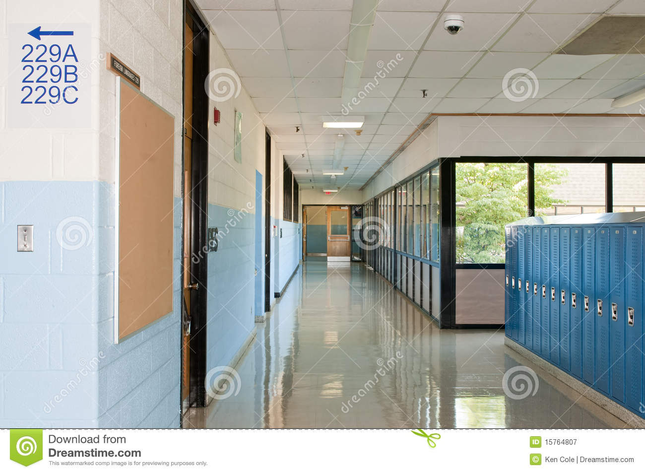 middle school or high school hallway or corridor with student lockers