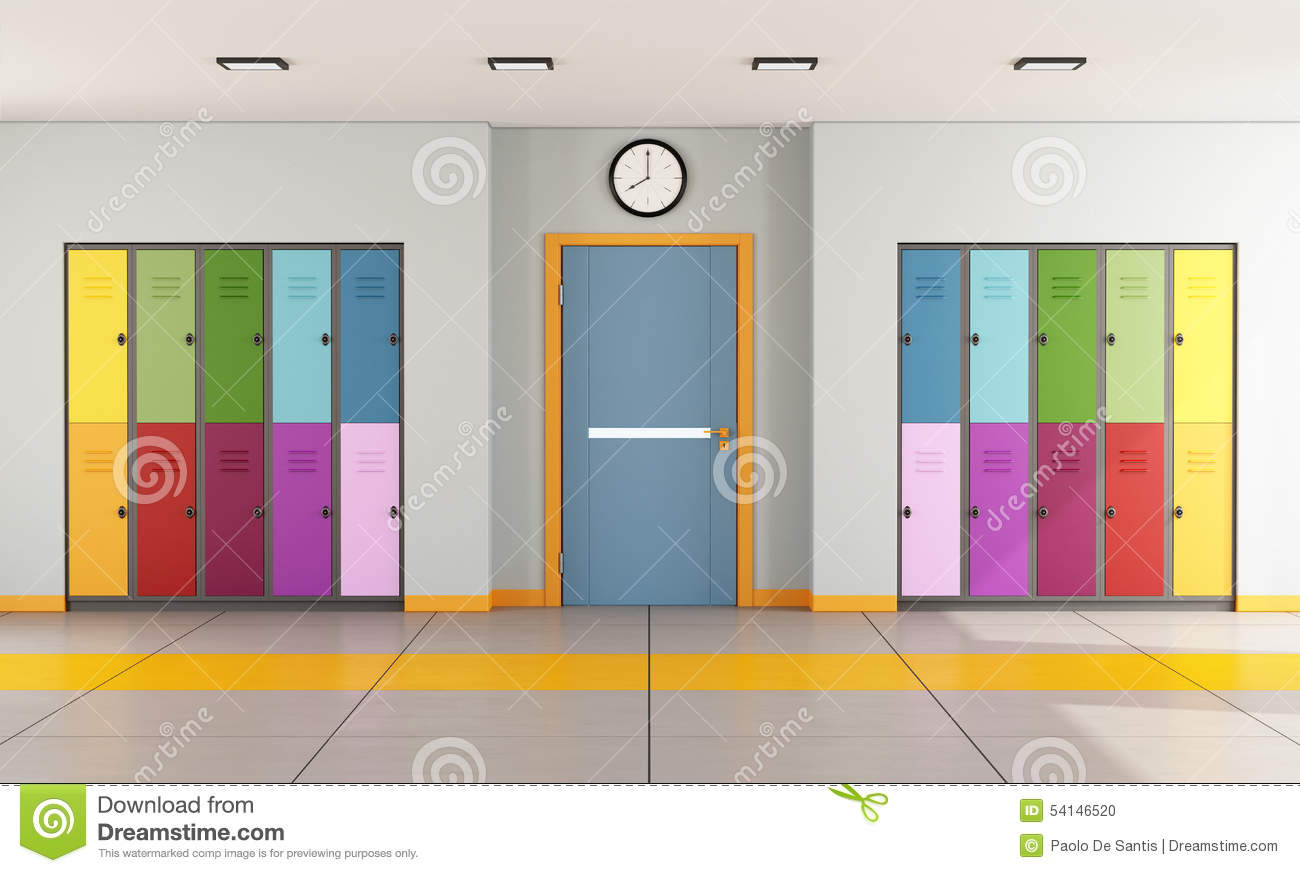 Modern Classroom Clipart : School hallway with student lockers stock illustration