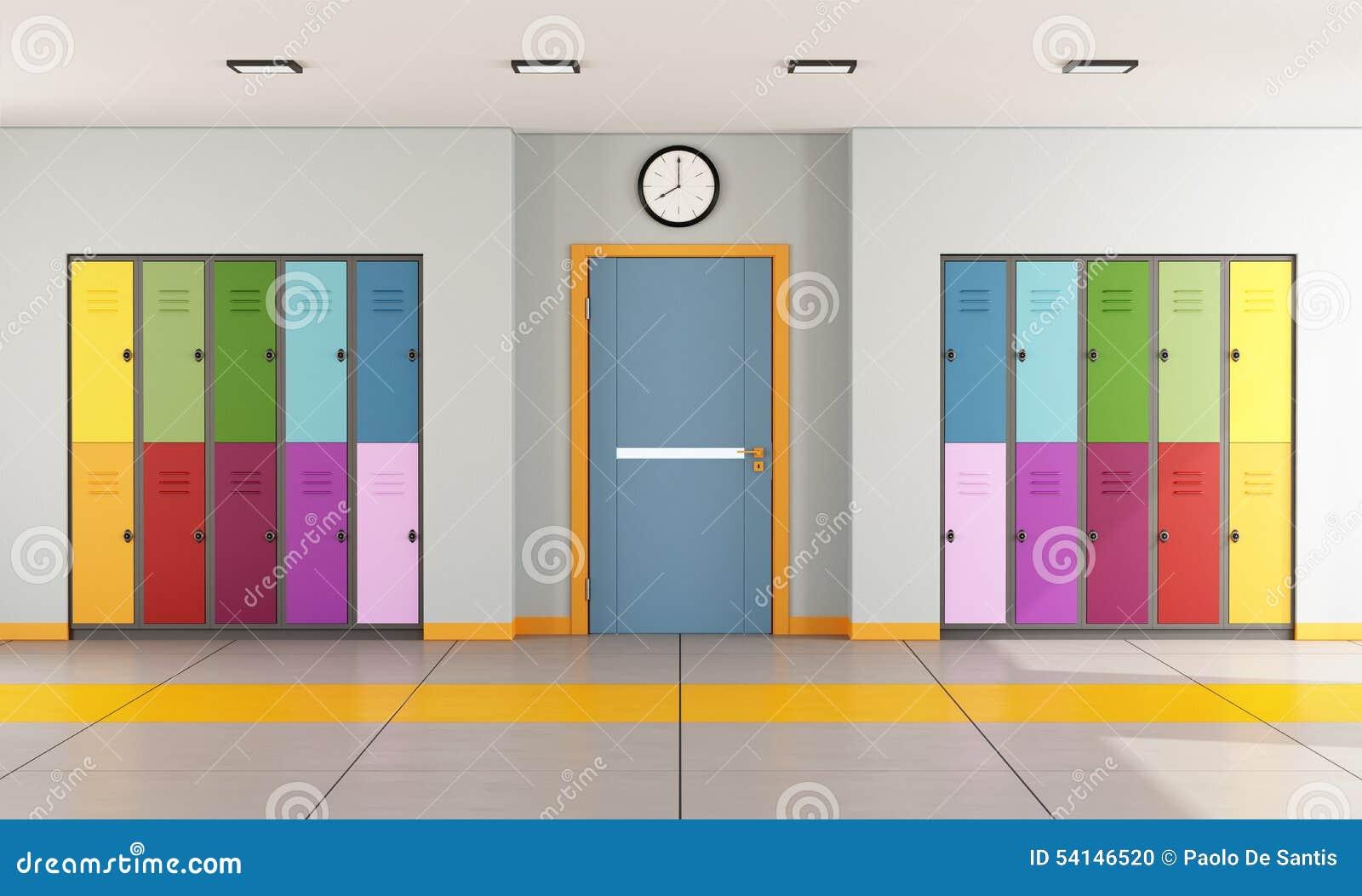 Modern Classroom Vector : School hallway with student lockers stock illustration