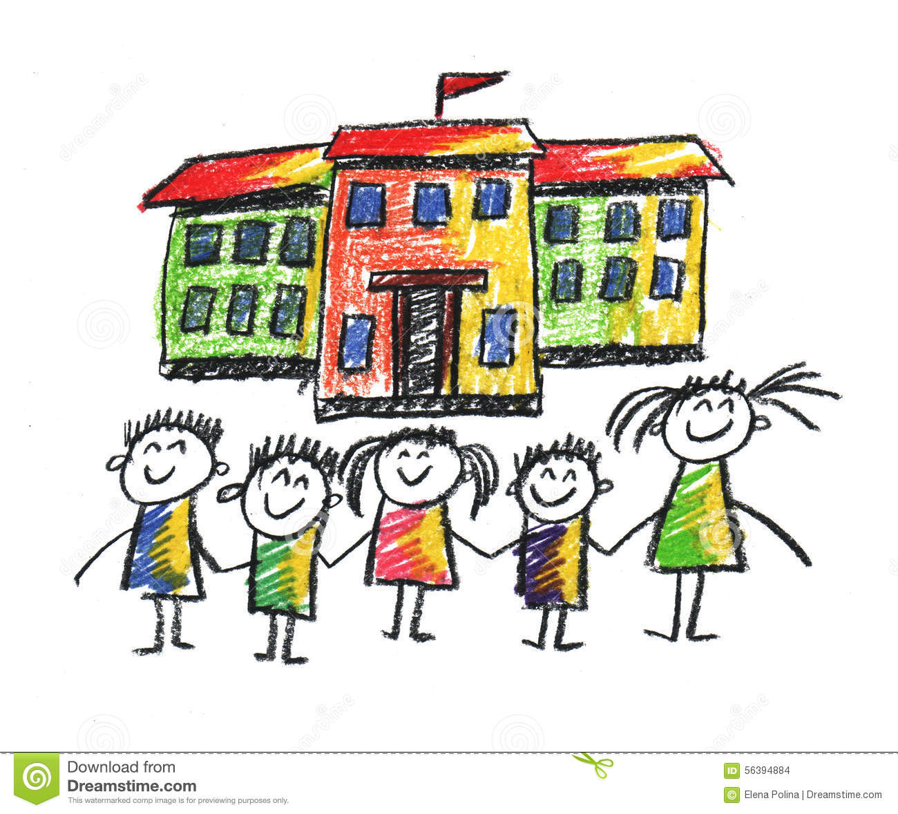 School And Happy Children Stock Illustration Illustration Of Funny 56394884