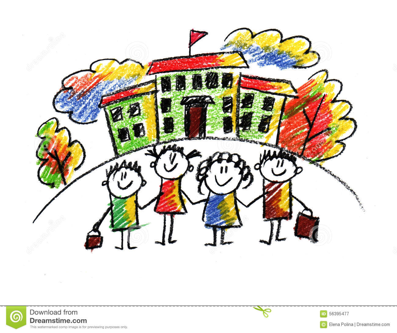School And Happy Children Stock Illustration Illustration Of Background 56395477