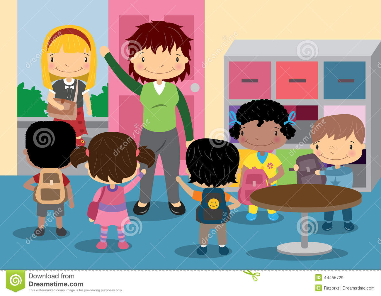 school home time stock vector illustration of waving