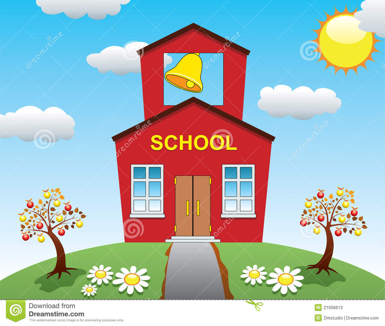 School House And Apple Trees Stock Photos Image 21006613
