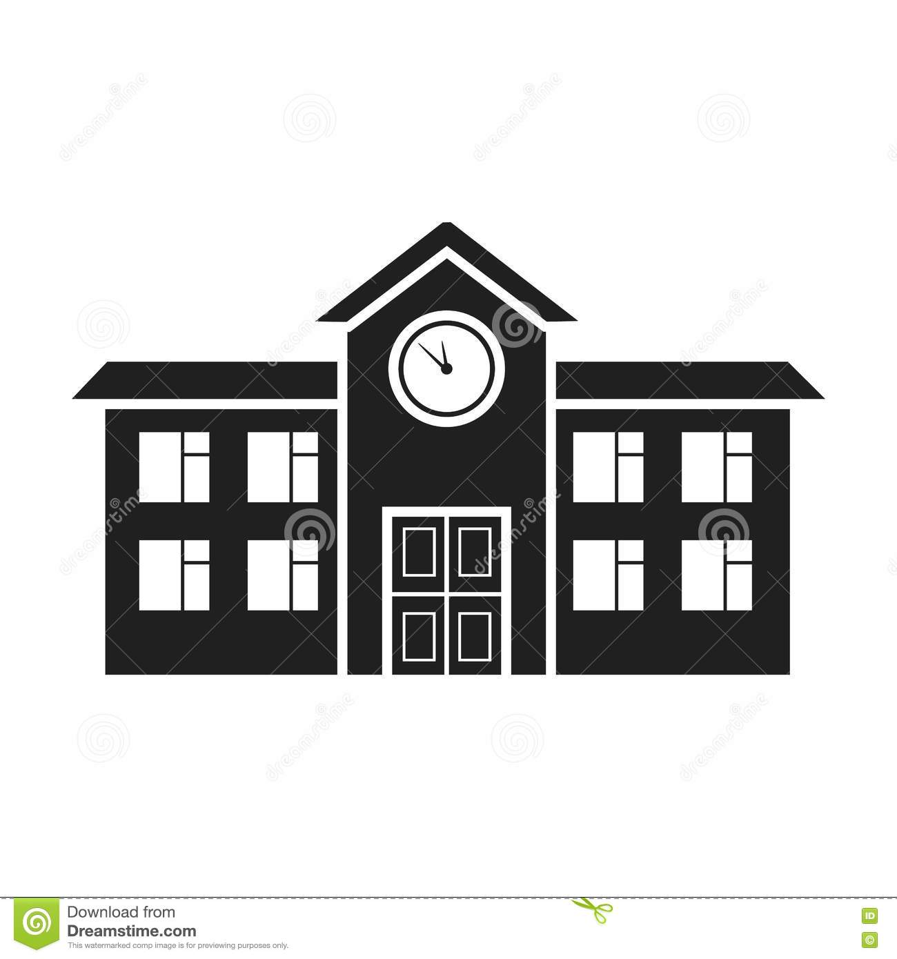 school icon in black style on white background building