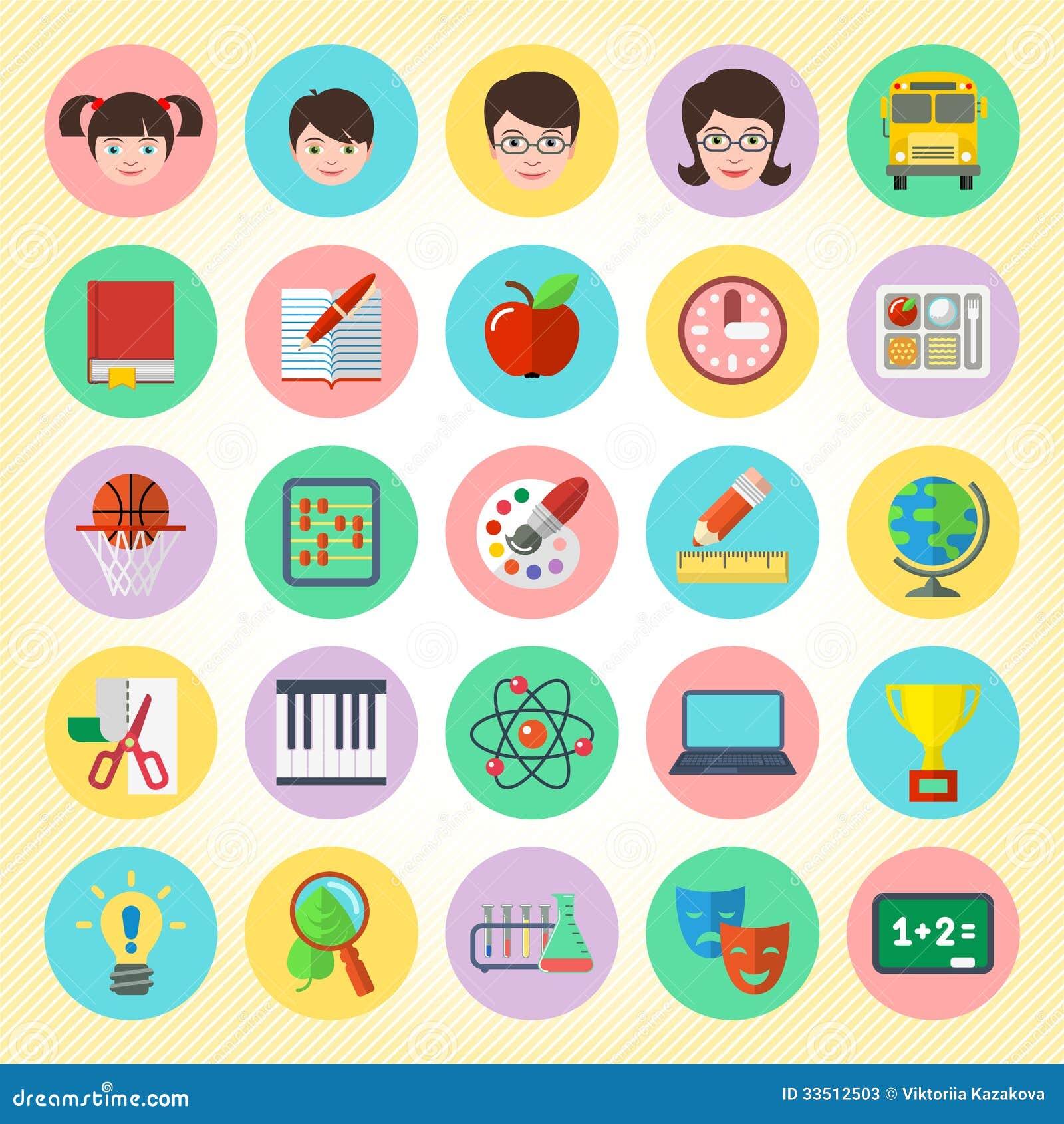 School Icons Set Stock Photos Image 33512503