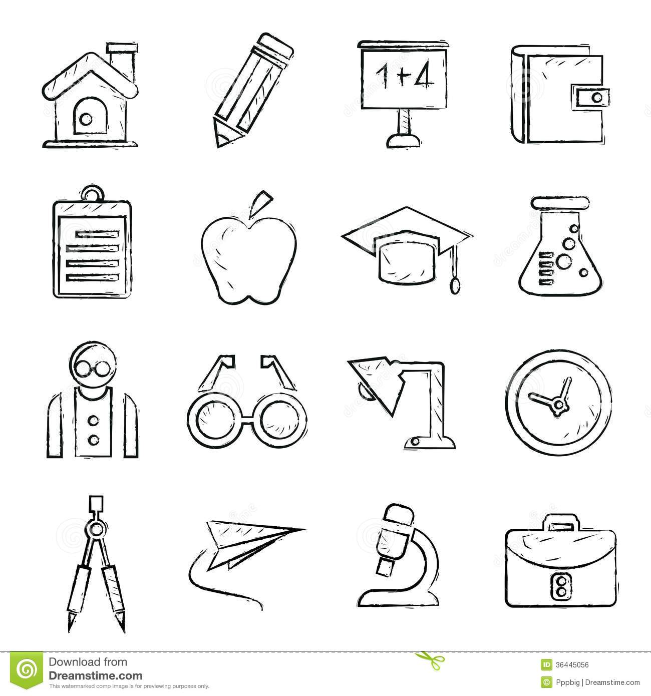 Line Drawing School : School icons sketch style stock vector image of paint
