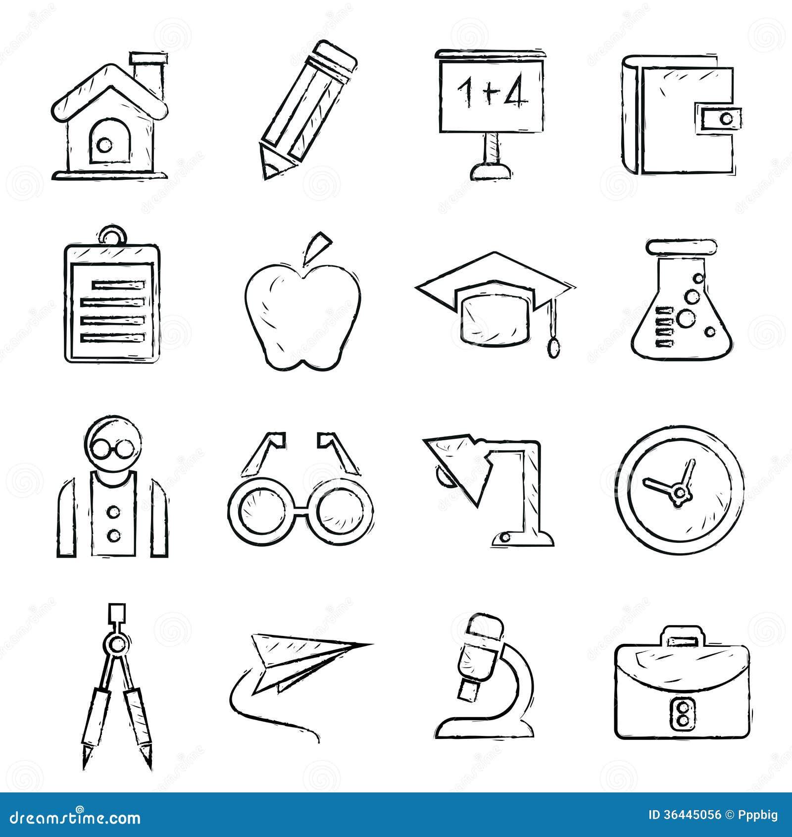 Line Art School : School icons sketch style stock vector image of paint