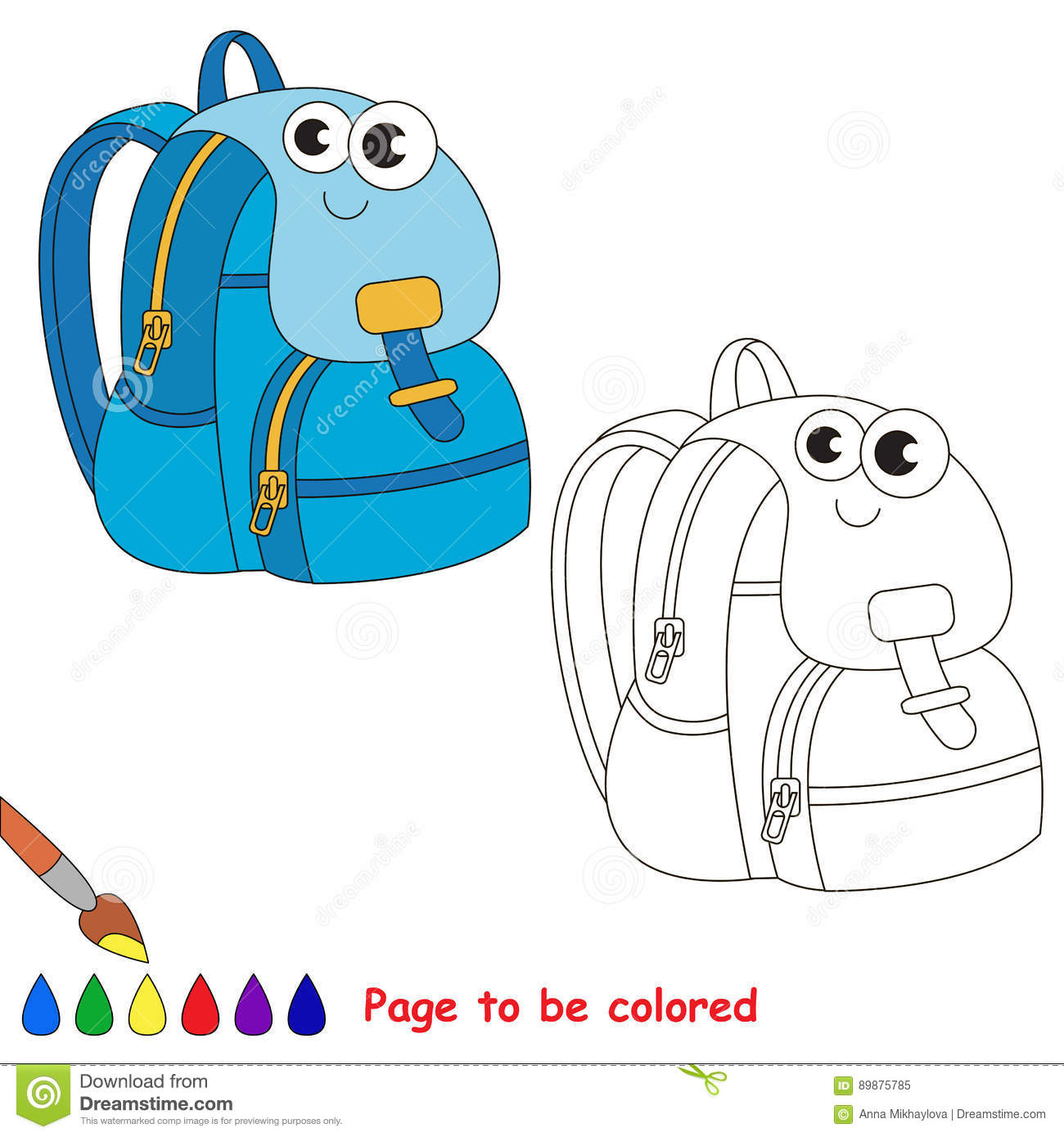 School Items Cartoon. Page To Be Colored. Stock Vector ...