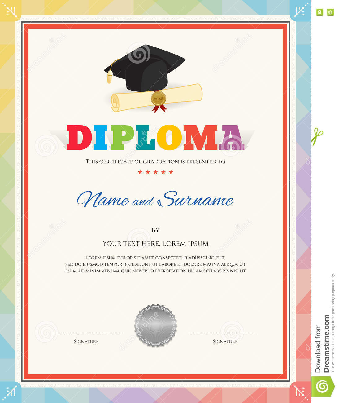 school kid diploma certificate template in modern style stock vector illustration of. Black Bedroom Furniture Sets. Home Design Ideas