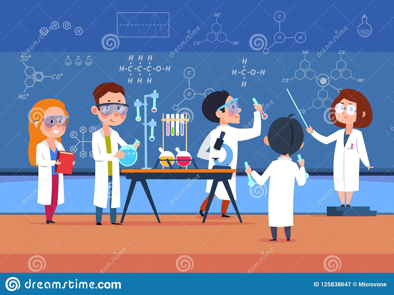 School kids in chemistry lab. Children in science laboratory make test. Cartoon pupils girls and boys in class. Vector