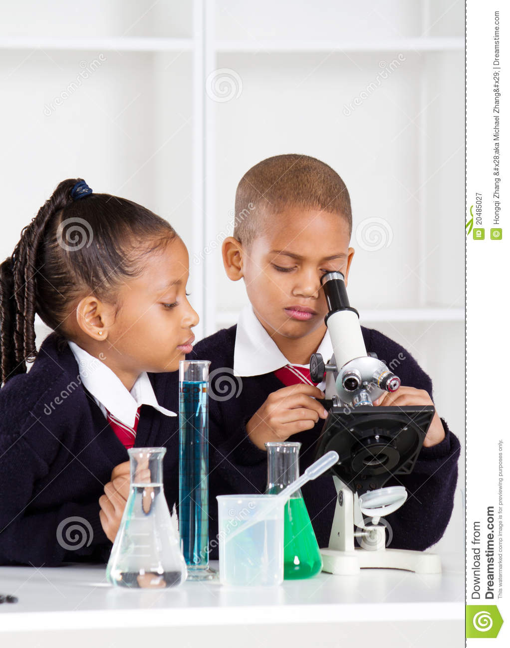 School kids in science class