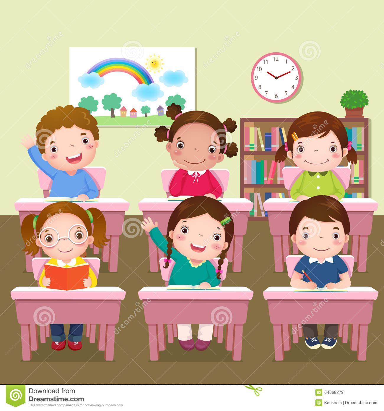 School Kids Studying In Classroom Stock Vector