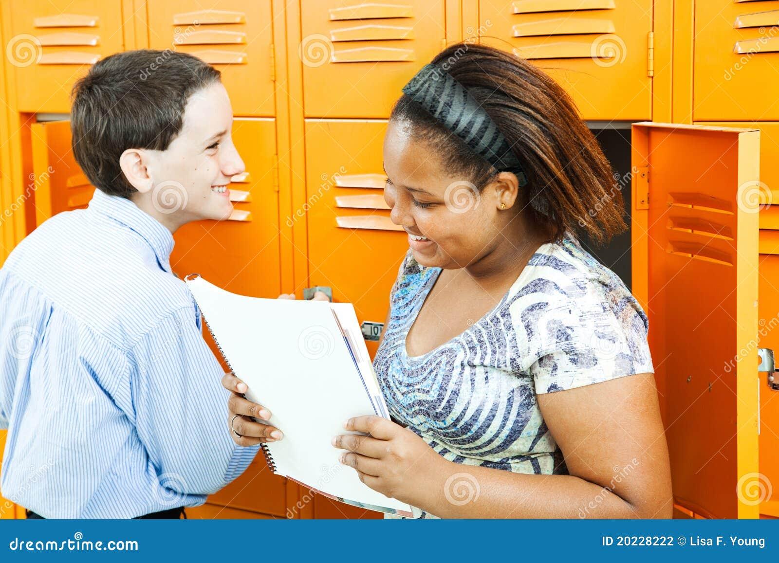 School Kids Talking By Lockers Stock Photography - Image ...