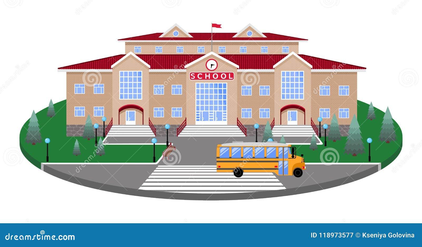 School, klassieke lichte beige baksteen die het cirkelplatform van het gazon bouwen aan de weg, voetgangersoversteekplaats, met 3