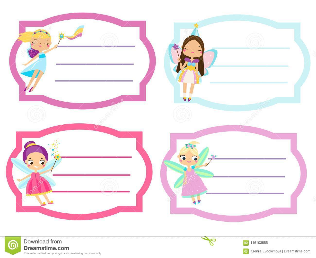 school labels with beautiful flying fairy. name tags, stickers for