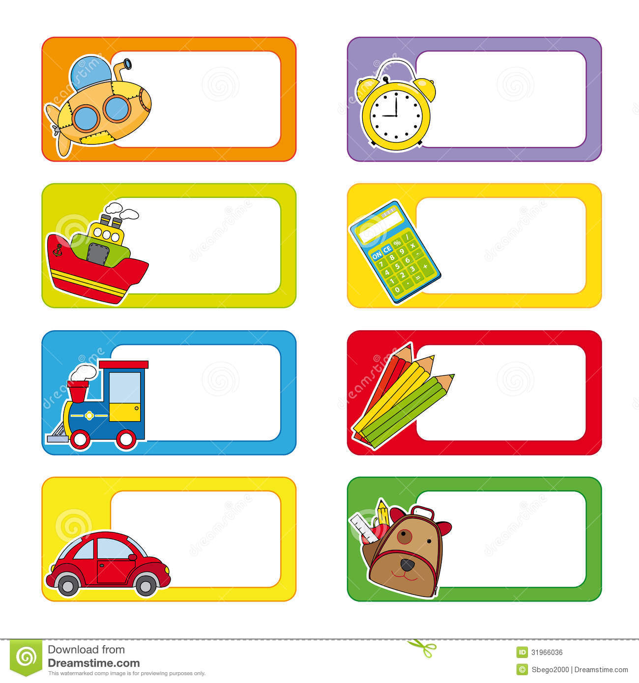 School labels. Stickers transport and objects for school.