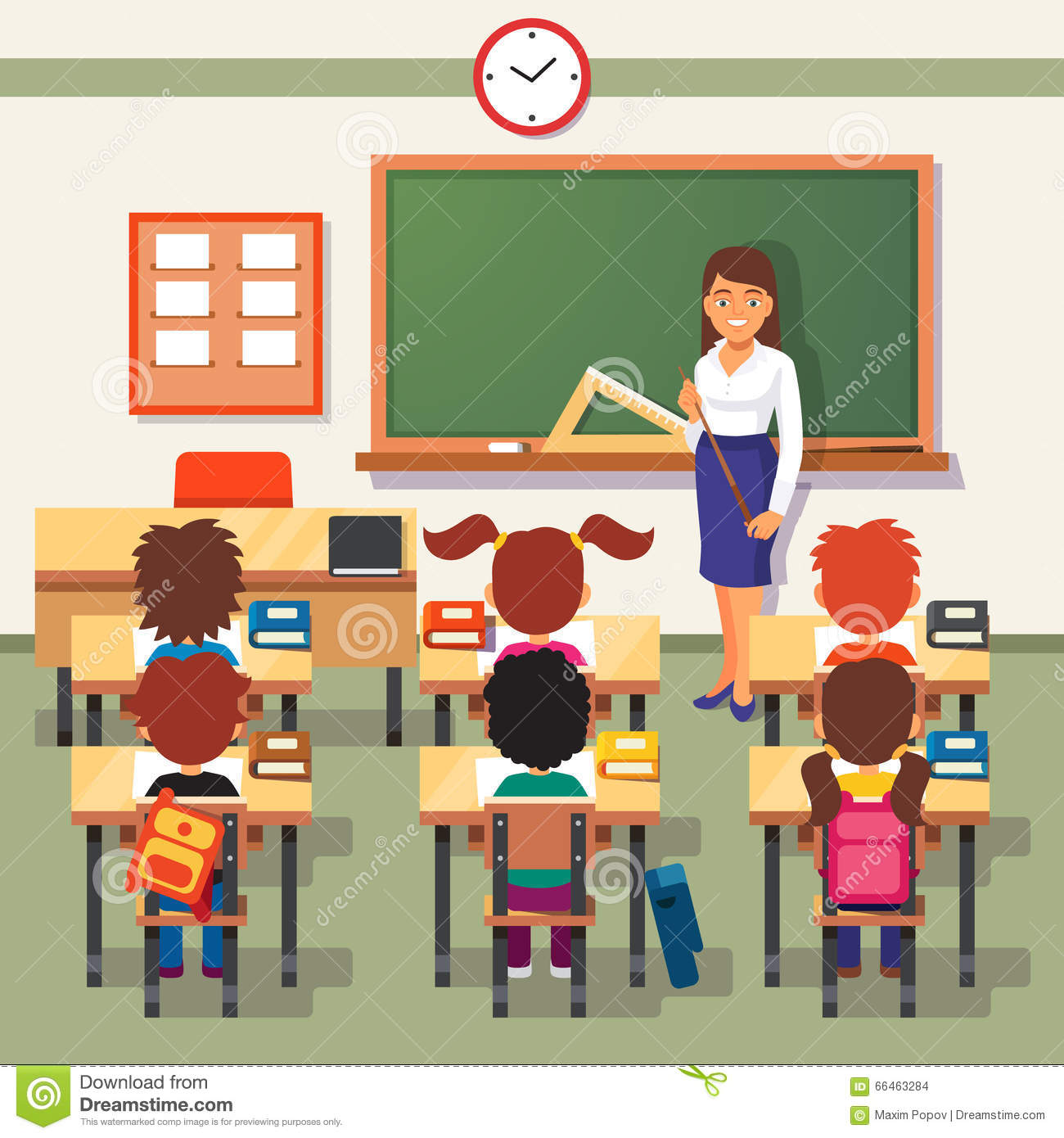 Class C Floor Plans School Lesson Little Students And Teacher Stock Vector