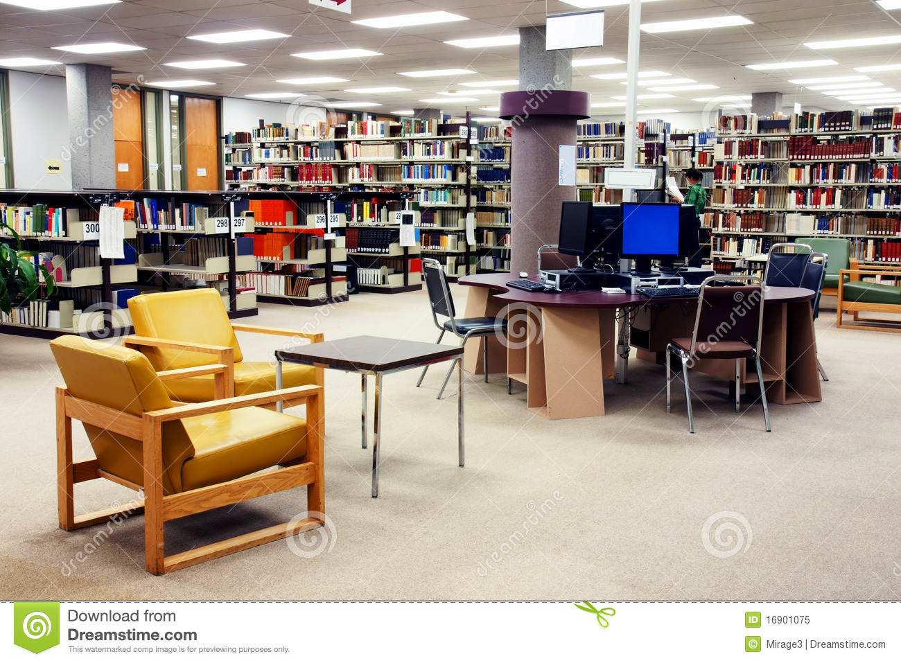School Library Computer Station Royalty Free Stock Photo