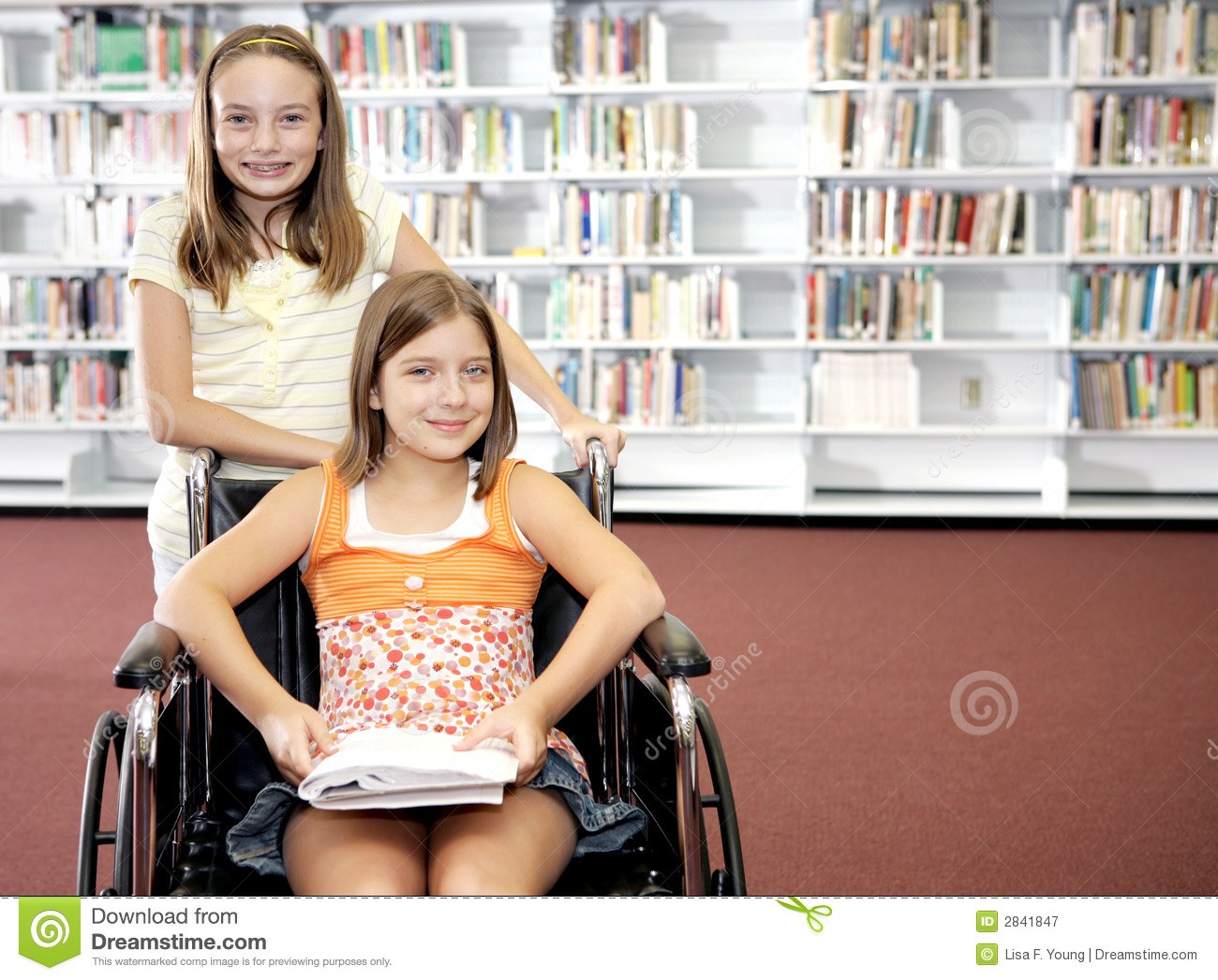 School Library - Two Girls Royalty Free Stock Photography - Image ...