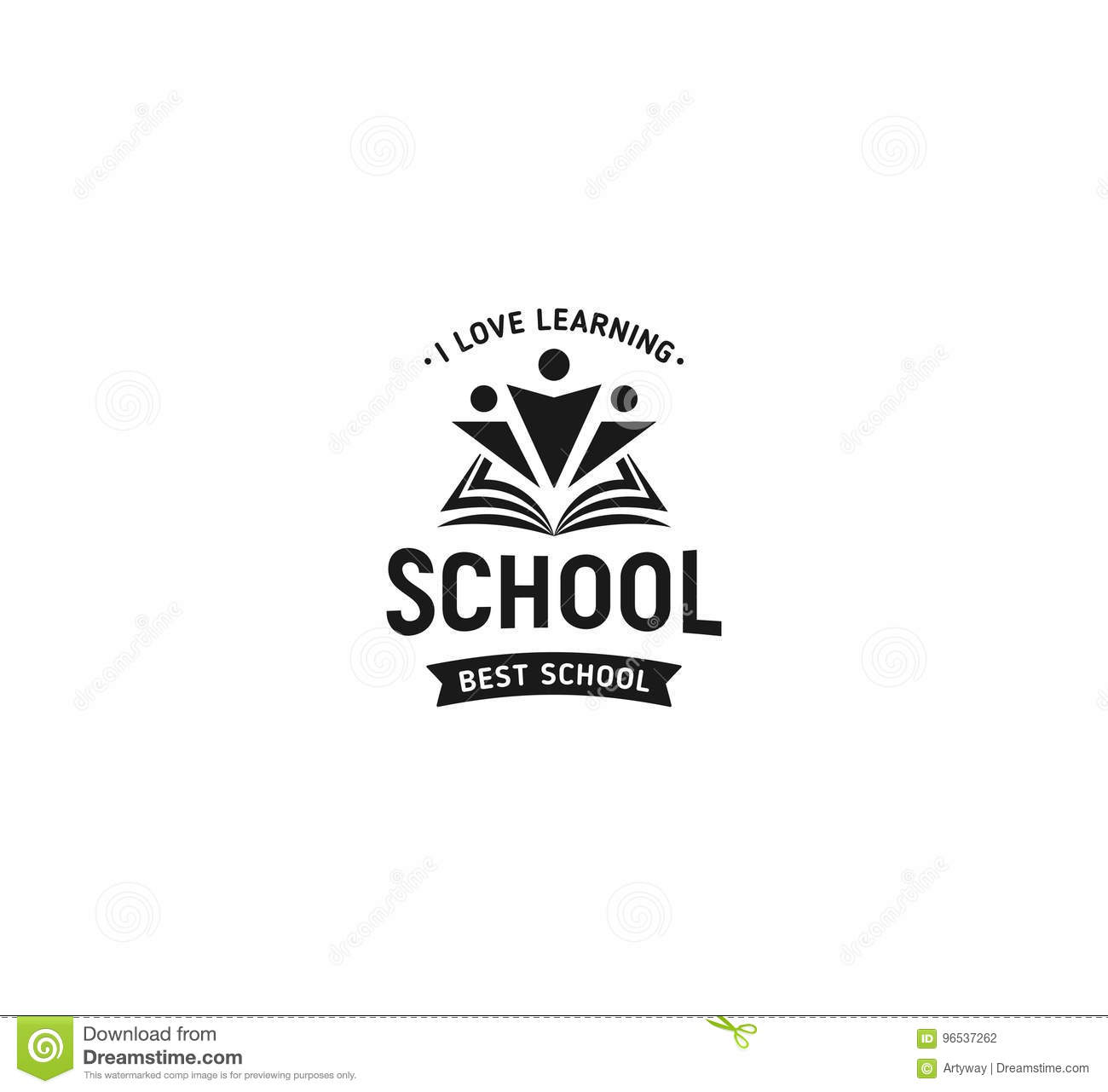 School logo vector. Monochrome vintage style design educational learning sign. Back to school, university, college retro