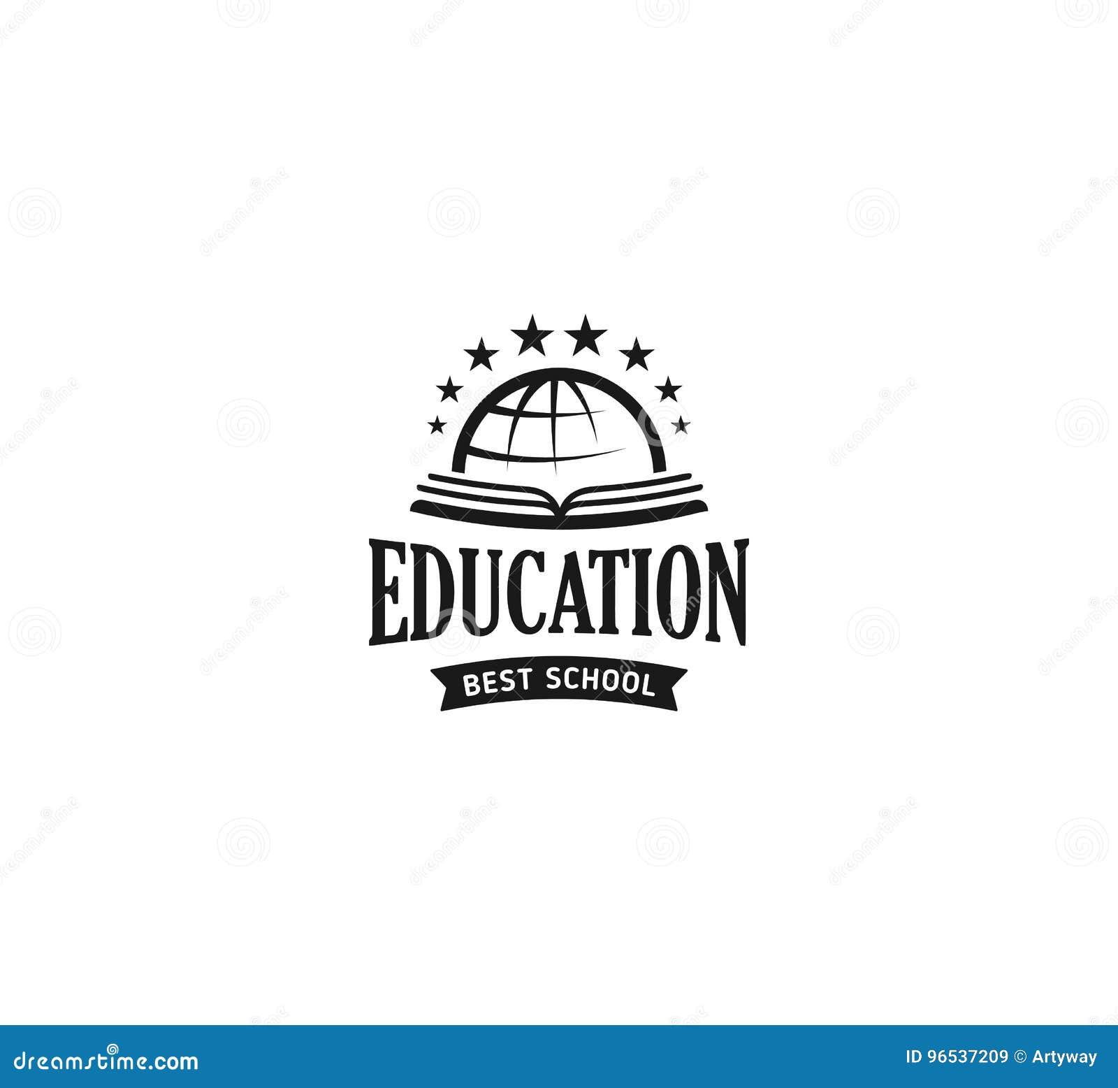 Collection Of Monochrome Flat Design Book Logo: School Logo Vector. Monochrome Vintage Style Design