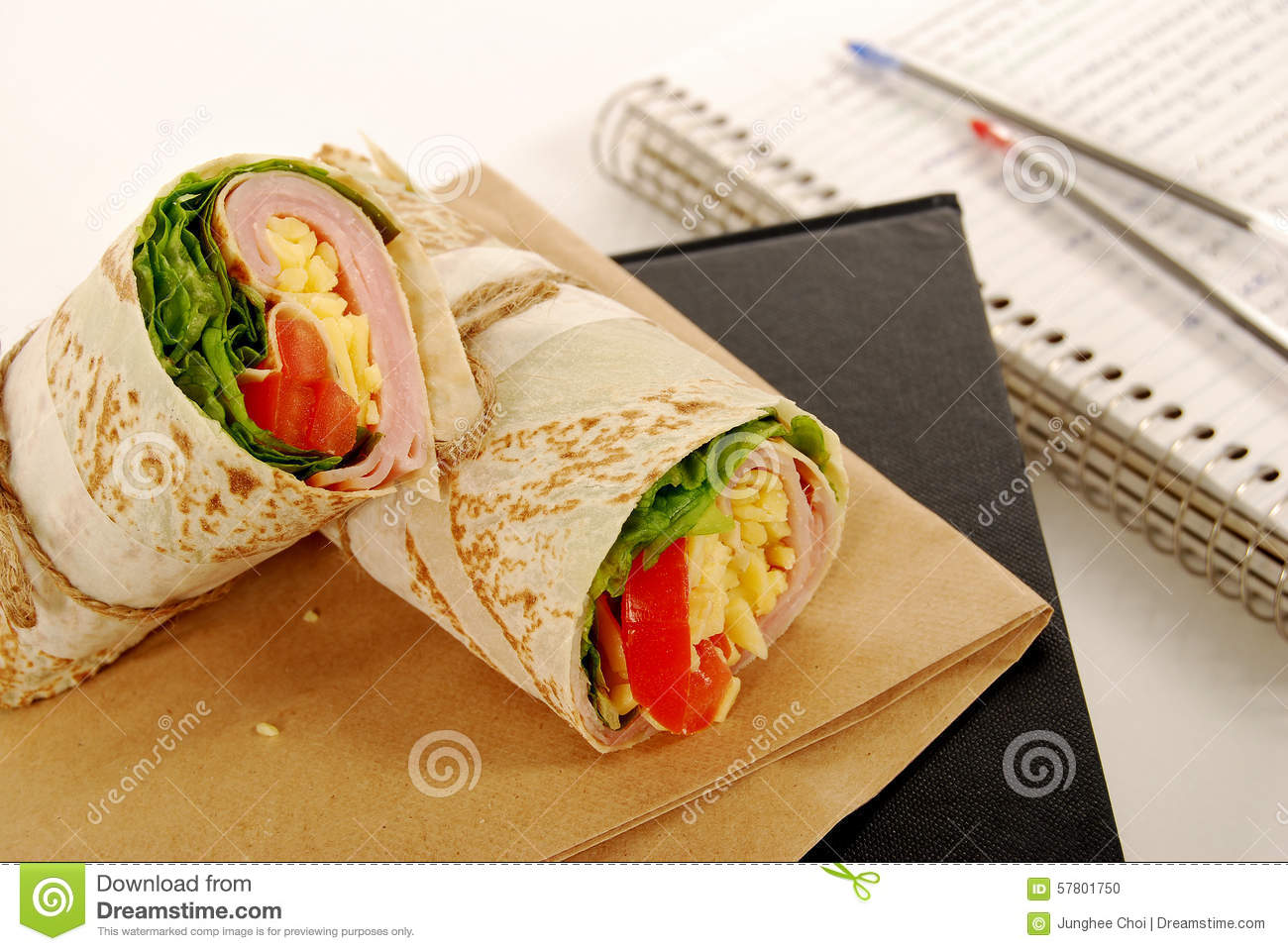 Book Cover School Lunches : School lunch ham and cheese wrap sandwich with bag