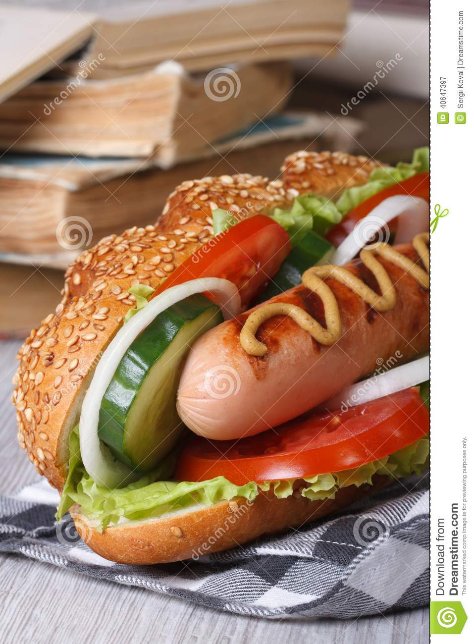 school lunch hot dog with sausage stock image image of meat mustard 40647397. Black Bedroom Furniture Sets. Home Design Ideas