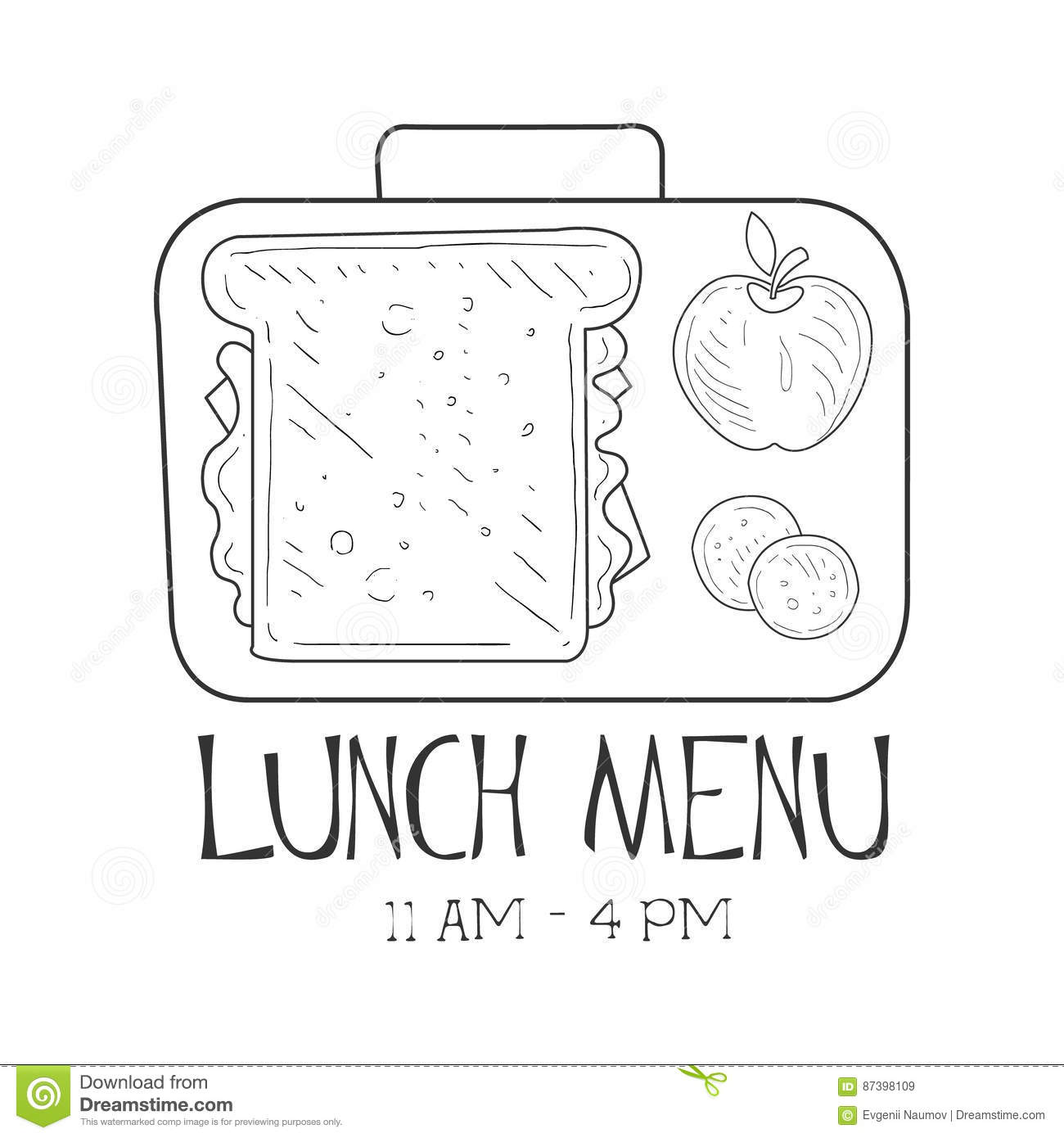 Lunch menu template stock vector image 43191846 school lunchbox cafe lunch menu promo sign in sketch style design label black and white pronofoot35fo Gallery