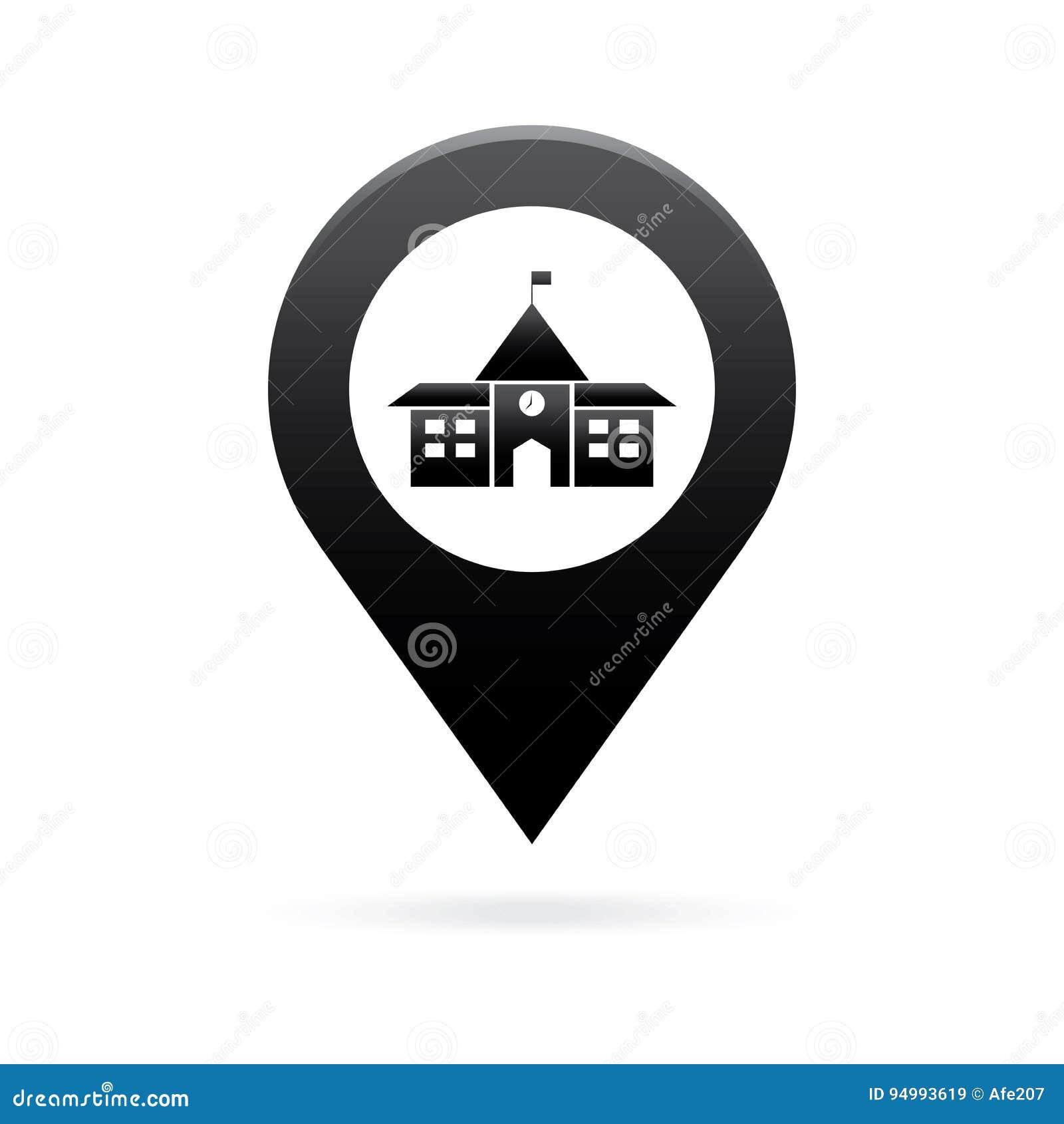 School Map Pointer Icon Marker Gps Location Flag Symbol Stock Vector