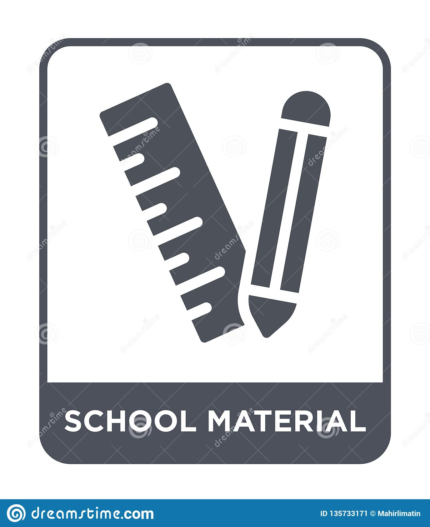 school material icon in trendy design style. school material icon isolated on white background. school material vector icon simple