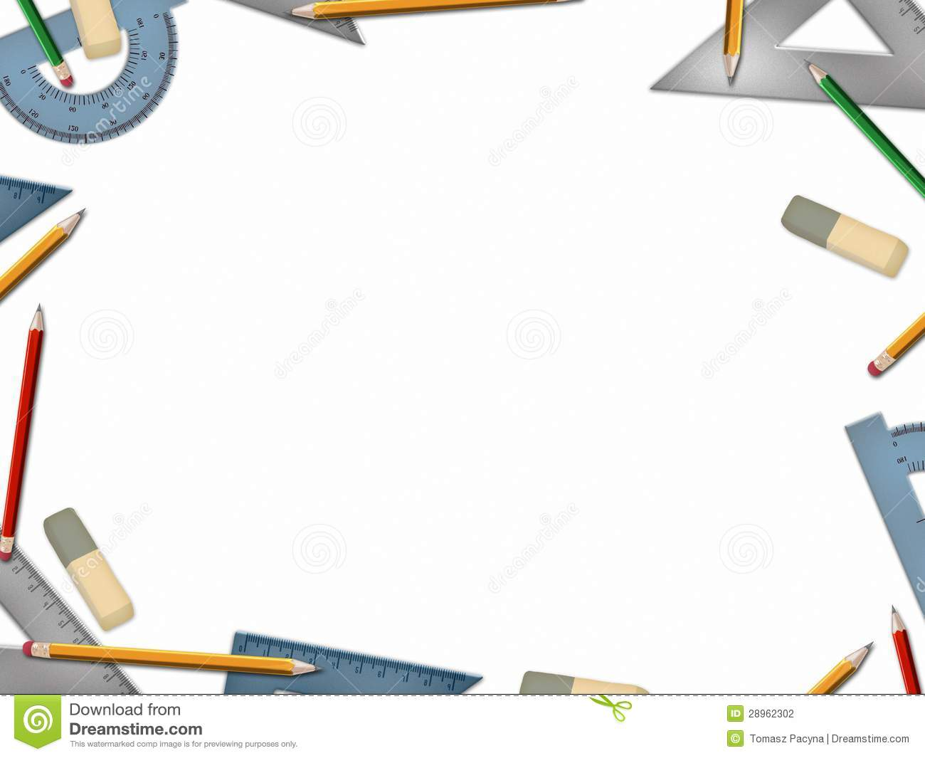 School Math Tools On White Background Stock Illustration ...