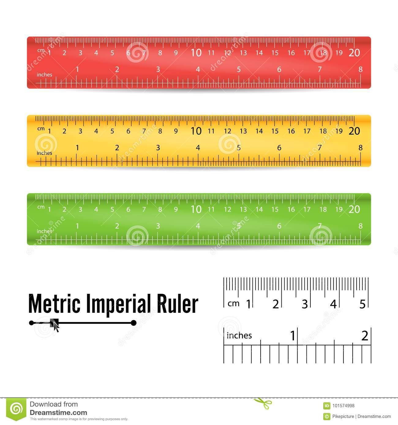 School Measuring Ruler Vector Measure Tool Millimeters