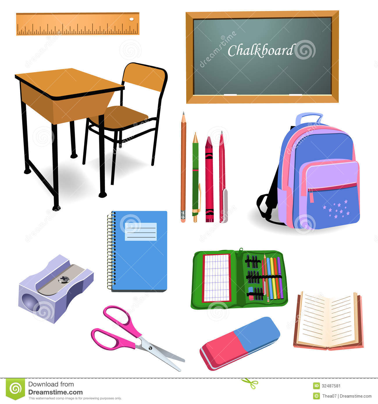School Objects Stock Image Image 32487581